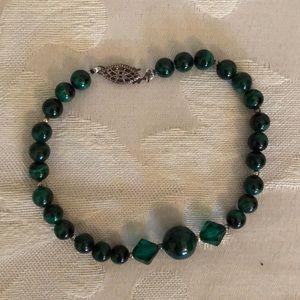 Malachite and Swarovski crystal bracelet